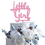 Little Girl Pink Glitter Acrylic Cake Topper Celebrate Baby Shower First year/month Birthday Party Decoration.