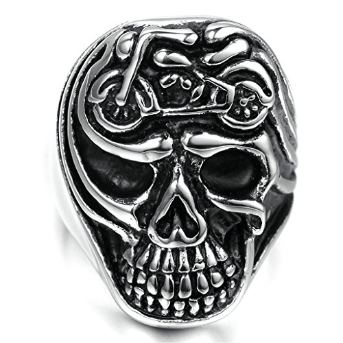 [Stainless Steel Ring for Men, Skull Ring Gothic Silver Band 2028MM Size 9 Epinki] (2028 Costume Jewelry)