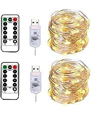 BXROIU 2 x łańcuch świetlny z 100 diodami LED w srebrnym drucie o długości 10 m, złącze USB z pilotem zdalnego sterowania, 8 programów i wybór czasu ściemniania (ciepła biel)