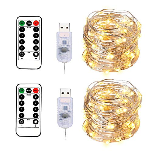 BXROIU 100LEDs Micro Fairy Lights 10M Silver Wire with USB Remote Control 8 Program and Timing Dimming LED Lights for Party, Christmas, Wedding, Lighting Decoration Pack of 2 (Warm White)