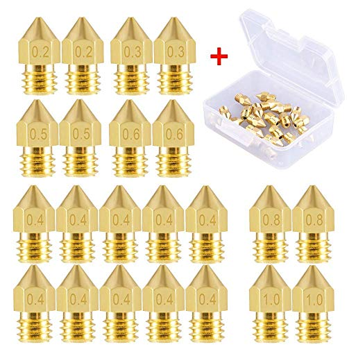 SIQUK 22 Pieces 3D Printer Nozzles MK8 Nozzle 0.2mm, 0.3mm, 0.4mm, 0.5mm, 0.6mm, 0.8mm, 1.0mm Extruder Print Head with Free Storage Box for 3D Printer Makerbot Creality CR-10