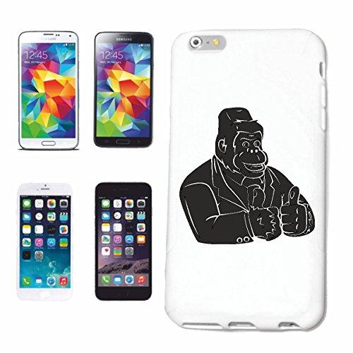 """cas de téléphone iPhone 6S """"BIG ADULTES GORILLA CHIMP MONKEY GORILLA APE SILVER orang-outan RETOUR GIBBON"""" Hard Case Cover Téléphone Covers Smart Cover pour Apple iPhone en blanc"""
