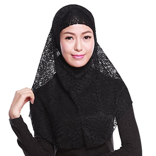 Shuohu Women's Lace Muslim Islamic Hijab Soft Neck Head Wraps Cap With Outer Scarf