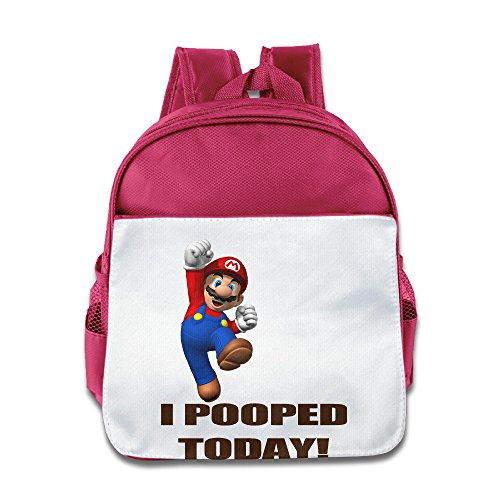 XJBD Custom Personalized I Pooped Today Mario Cartoon Boys And Girls Schoolbag For 1-6 Years Old Pink