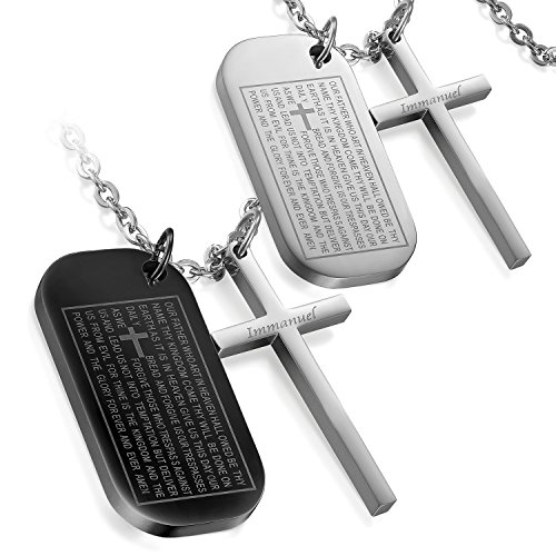 Flongo Men's Biker 2PCS Stainless Steel Cross English Bible Lords Prayer Dog Tag Pendant Necklace, 22 inch (Christian Dog Tag Necklaces)