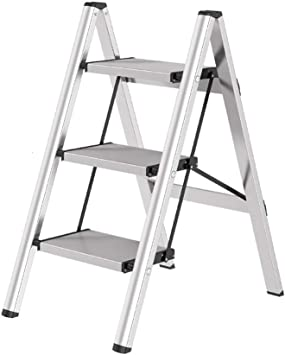QING MEI Escalera De Tijera Escalera Pequeña Plegable De 3 Pasos Para El Hogar Estante A++ (color : Blanco): Amazon.es: Bricolaje y herramientas