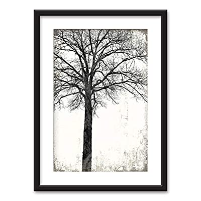 Fascinating Technique, Made With Top Quality, Framed Tree in Black White on Vintage Background Black Picture Frames White Matting
