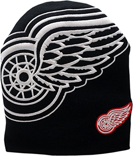 Detroit Red Wings Knit Hat Skull Big White Logo Block 11814