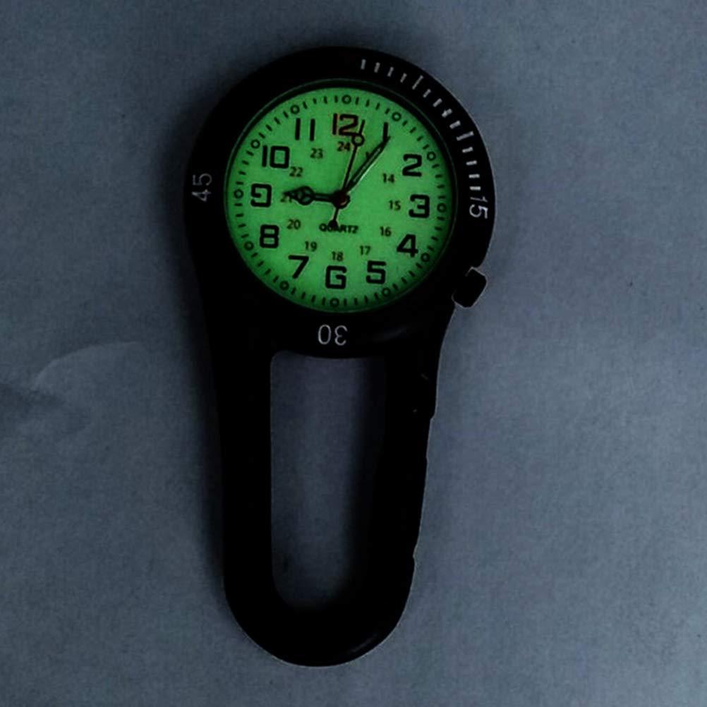 schwarz Hemobllo Quarzuhr mit Clip aus Legierung Nachtlicht Rucksack Unisex G/ürtel Schnalle Uhr schwarz mit wei/ßem Zifferblatt Ideal f/ür medizinische Kranken-Messungen