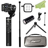 Feiyu G6 3-Axis Handheld Splashproof Gimbal with Extension Pole, Session Adapter & Mini Tripod, Compatible for Gopro Hero 6/5/4/3/Session, Yi Cam 4K, Sony RX0, WIFI Bluetooth Connection