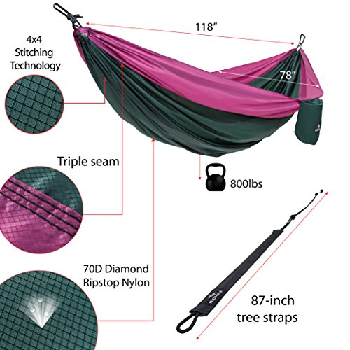 Camping Hammock – Double Hammock – Portable Hammock – Best Outdoor Travel Hiking Patio Beach Hammock Parachute Lightweight Nylon Hammock – Two Person Hammock – Large Hammock Hammock with straps