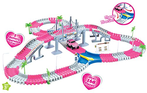 Princess Create A Road Pink Magic Journey Flexible Track Set for Girls (168 Pcs)