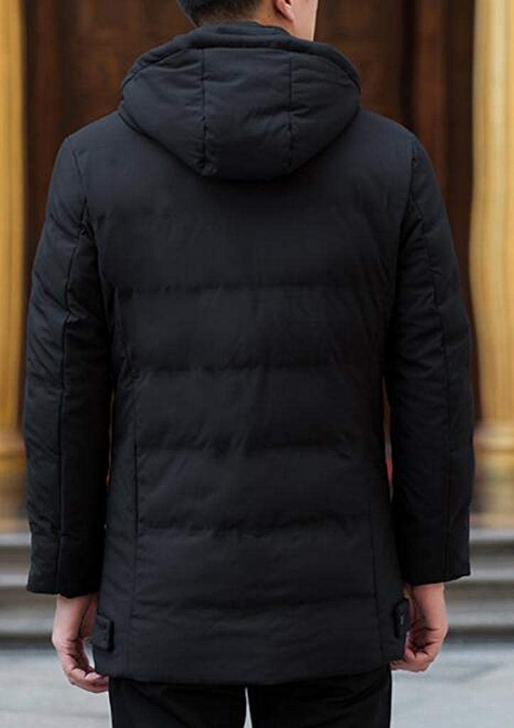 XiaoTianXinMen XTX Men Plus Size Warm Solid Color Hooded Winter Down Quilted Jacket Coat Outwear Black 2XL