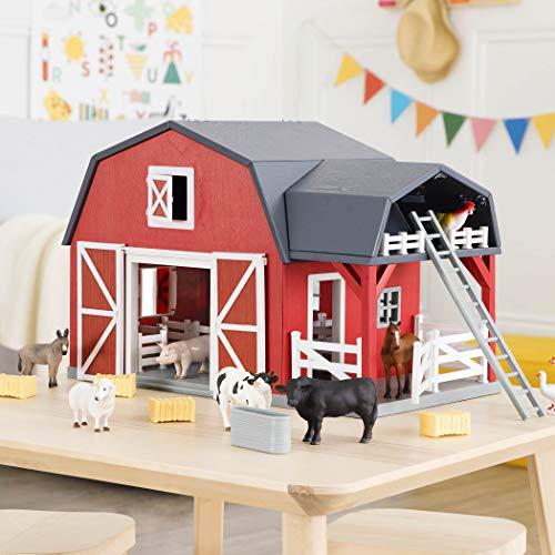 Terra by Battat - Wooden Animal Barn - Toy Barn Farm Toys Playset for Kids 3+ (20 pc)