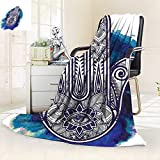 All-Season Super Soft Blanket Decor Hamsa Hand Fatima Good Luck Symbol Oriental Ornament Meditation Pink Blue,Silky Soft,Anti-Static,2 Ply Thick Blanket. (50''x30'')