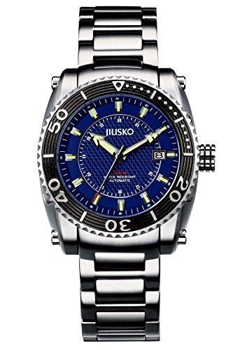 JIUSKO Authentic Mens Automatic Self Wind 200m Stainless Steel Diving Watch 21 Jewel, Blue Dial 39LSB08 by JIUSKO