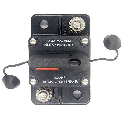 ZOOKOTO 250 Amp Car Automotive Marine Boat Audio Circuit Breaker with Manual Reset, 12V- 42VDC, Waterproof (250a Circuit Breaker)