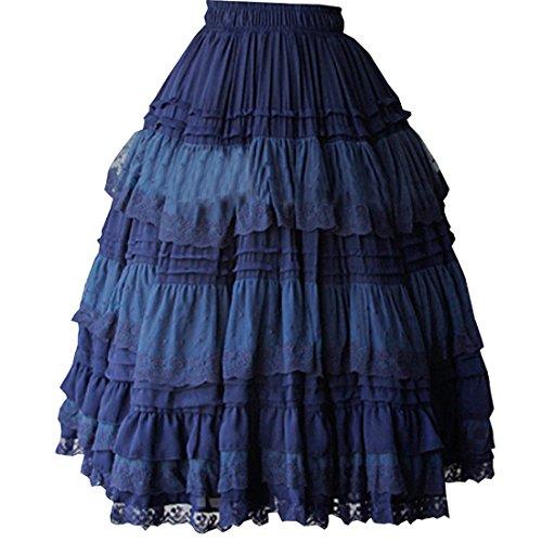Partiss Damen Angle Spitze Chiffon Lolita Rock Blau bzi2jVK