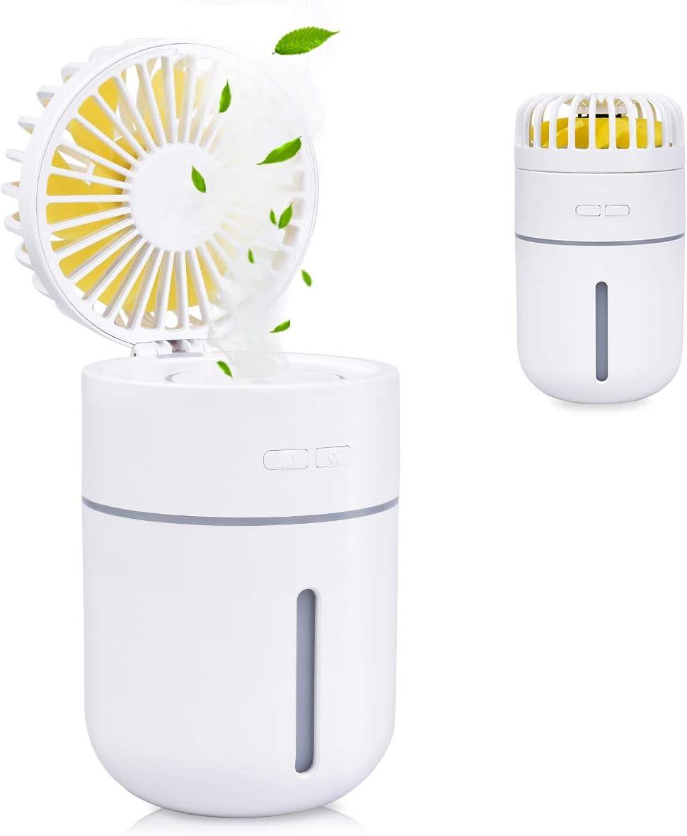 Humidificador Portátil 400ml USB Mini Humidificador Ultrasónico con Ventilador y Luces Humidificador Bebes Silencioso 2000mAh con 2 Modos de Niebla Fría Mejora El Aire Seco para Hogar, Coche, Oficina