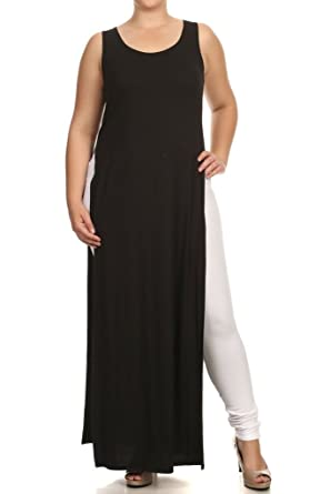A Plus Style Double Slit Maxi TOP-1X Black at Amazon Women\'s ...