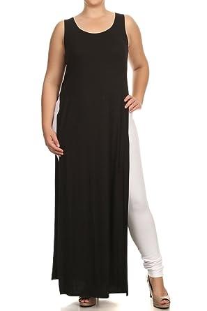 A Plus Style Double Slit Maxi TOP-1X Black at Amazon Women\'s ...