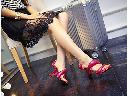 Nuevo Zapatos Mujer De En red Verano red Sandalias Herida Sandalias Punta De Serpentina Xing De Rose inside Abierta Tacón Forma Lin Cuero rose XPfYAq