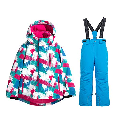 HOTIAN Girls Windproof Snow Jacket Insulated Ski Jacket + Pants Snowsuit (US 4 - US 16)