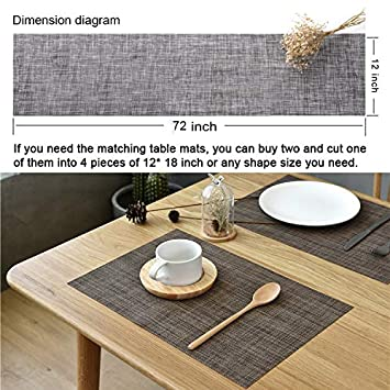 12Wx72L, White Grey McIvan Table Runner 12x72 Inch Durable Washable for Kitchen Dining Tea Table Use Eco-Friendly Heat Insulation PVC Vinyl Weave
