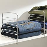 mDesign Versatile Closet Shelf Divider and Separator for Storage and Organization in Bedroom, Bathroom, Kitchen and Office Shelves - Easy Install, Sturdy Wire Construction - Pack of 8, Chrome