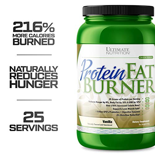 Ultimate Nutrition Protein Fat Burner Whey Protein Powder for Weight Loss - Keto Friendly with Natural Hunger Reducing Ingredients, 30 Servings, Vanilla (Weight Loss Powder Protein)