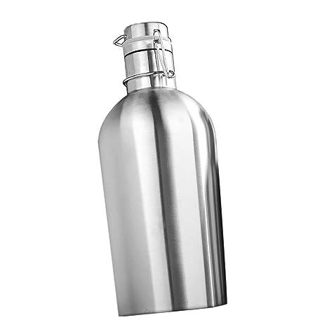 Tubayia 1pc Acero Inoxidable Botella de Agua Termo Botella para Hogar Bar Exterior, Acero Inoxidable, 1 l