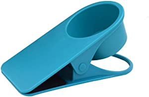 Dirza Drinking Cup Holder Clip - Clip On Office Table Desk Side to Hold Coffee Water Drink Beverage Soda Tea Blue