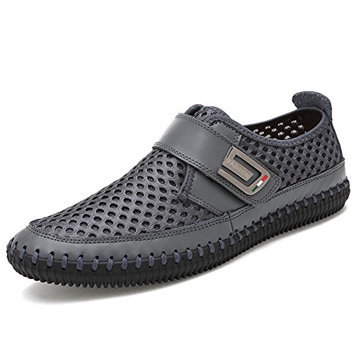 pelle Gomnear scarpe loafers di Mocassini Uomo liscia Grigio casual 11gq4tSw