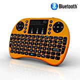 Rii i8+ BT Mini Wireless Bluetooth Backlight Touchpad Keyboard with Mouse for PC/Mac/Android, Gold (RTi8BT-5)
