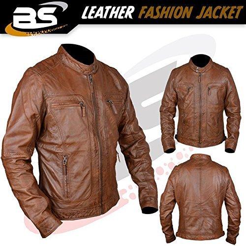 Jacke 100% echtes Leder moto JACKET Mit Reißverschluss Stil retro look Biker für Herren in t braun: M