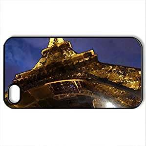 FRANCE - Paris - Eiffel Tower - Case Cover for iPhone 4 and 4s (Watercolor style, Black)