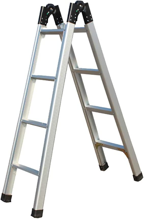 LJFYMX Escalera Pesada Plegable Escalera Plegable Doble de Aluminio telescópica de 1.5-3m subiendo escaleras. diseño Plegable: Amazon.es: Hogar