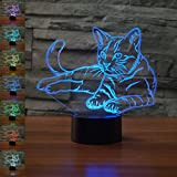 Pet Cat 3D Lamp Night Light Beside Table Lamp, Gawell 7 Color Changing Touch Switch Decoration Lamps Mother s Day Gift with Acrylic Flat & ABS Base & USB Cable Cat Lover Toy