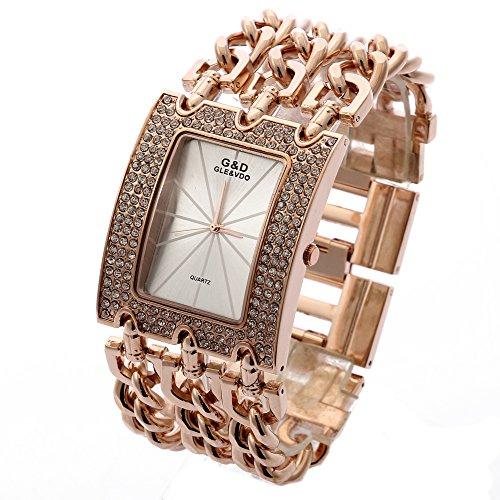 Sheli Rose Gold Stainless Steel Sturdy Bracelet Watch for Woman Girlfriend Wife Festival, 40mm