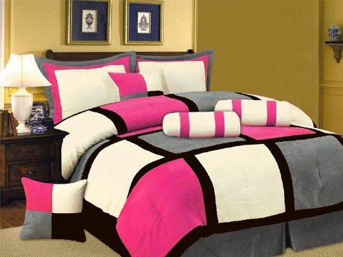7 Piece Pink Black White Bed in a Bag Micro Suede QUEEN Comforter Set with accent (White Suede Comforter)