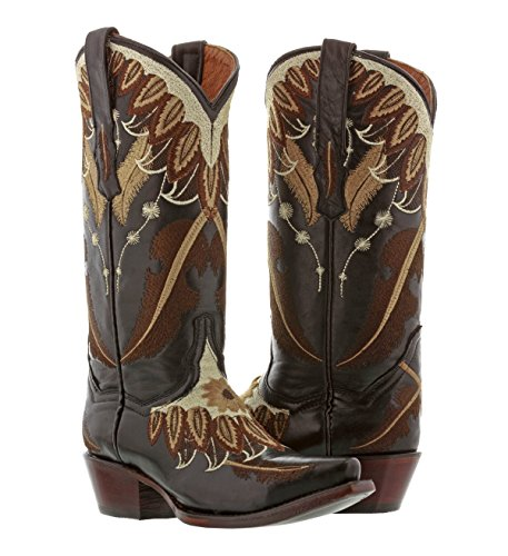 (Cowboy Professional - Women's Black Feather Leather Cowboy Cowgirl Boots 10.5 Medium)