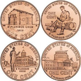 2009 P & D Lincoln Bicentennial Penny Roll Complete Set (8 Rolls) All 4 Designs (2009 Lincoln Cent Roll)