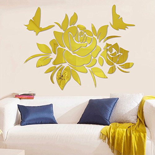Alrens(TM)Luxury Peony Flower Butterfly Acrylic Mirror Stereo 3D Wall Stickers Wall Hangings Decor Living Room Living Room TV Backdrop Dining Room Home Décor Mural Decal Art