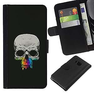 Protector de cuero de la PU de la cubierta del estilo de la carpeta del tirón BY RAYDREAMMM - HTC One M7 - Cráneo Diente Crayon