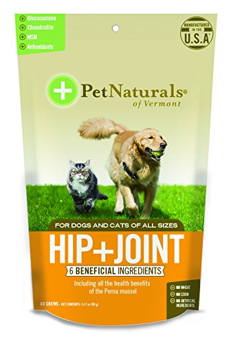 Pet Naturals of Vermont - Hip + Joint, Daily Joint Supplement for Dogs and Cats, 60 Bite-Sized Chews by Pet Naturals
