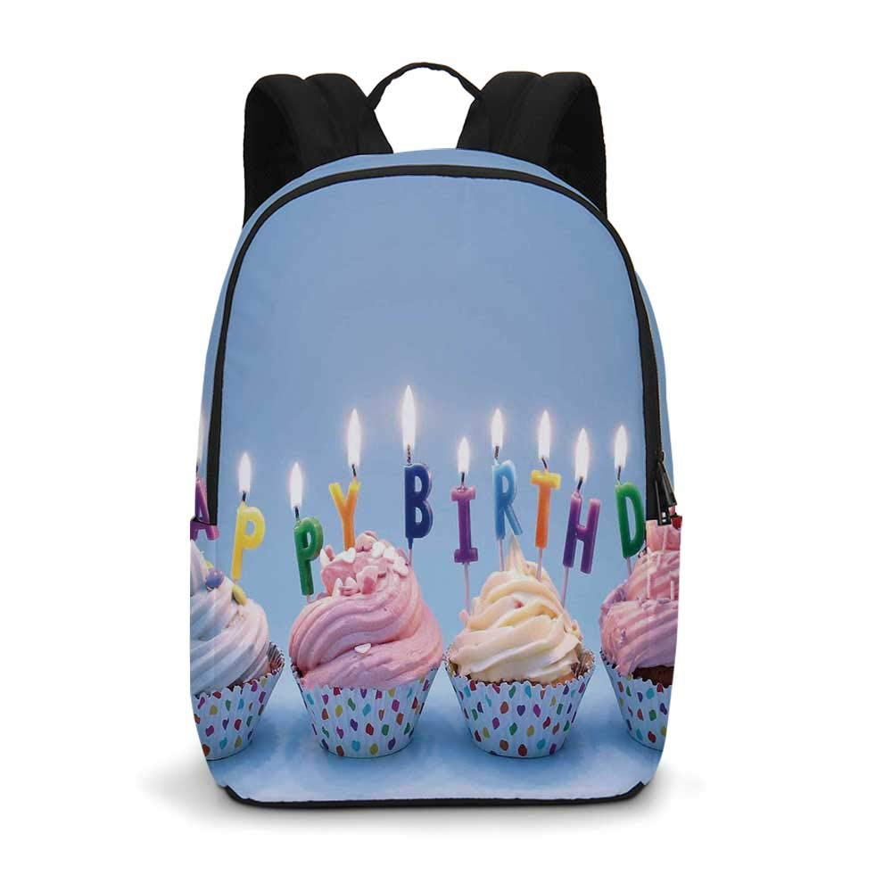 Birthday Decorations Modern simple Backpack,Delicious Creamy Cupcakes with Letter Candles Sweet Celebration Theme for school,11.8''L x 5.5''W x 18.1''H