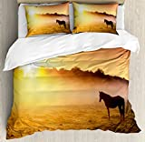 Horse Decor Queen Size Duvet Cover Set by Ambesonne, Arabian Horses Grazing on Pasture at Sundown Dramatic Foggy Scenery, Decorative 3 Piece Bedding Set with 2 Pillow Shams, Coral Yellow Brown