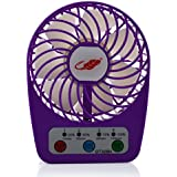 Momoday® Mini Cooling Table Fan 4 Speeds Portable Handheld Desktop Fan with Timing Setting Function Electric Personal Fan Rechargeable USB Emergency Summer Fan LED Power Visual design (Purple)