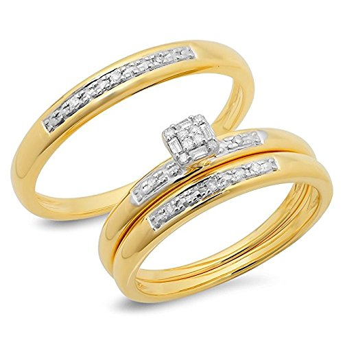 0.15 Carat (ctw) 10K Yellow Gold Round & Baguette Diamond Men & Women's Trio Bridal Wedding Ring Set 0.15 Ct Baguette Diamond