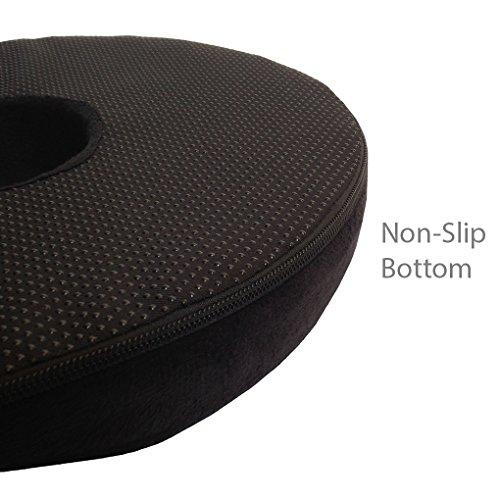 Kieba Hemorrhoid Treatment Donut Tailbone Cushion for Hemorrhoids, Prostate Cushion, Pregnancy Cushion, 18 Inches. Ultra Premium Comfort Foam Hemorrhoid Pillow (Black)